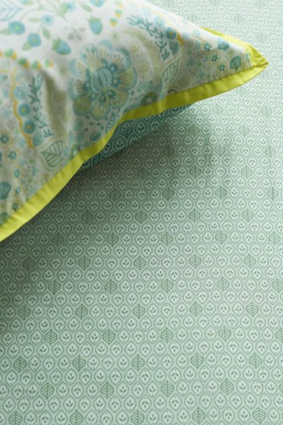UK - Leaves Fitted Sheet Green 180x200