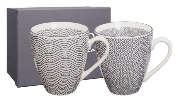 Nippon Grey Mug Set 2pcs 8.7x9.8cm Wave & Squares  (1/24)