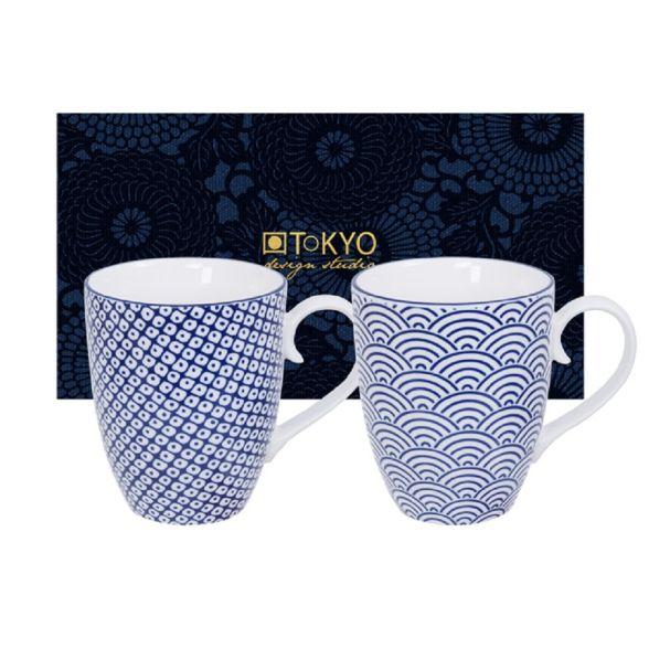 Nippon Blue Mug Set 2pcs 8.5x10.2cm 380ml Wave & Raindrop