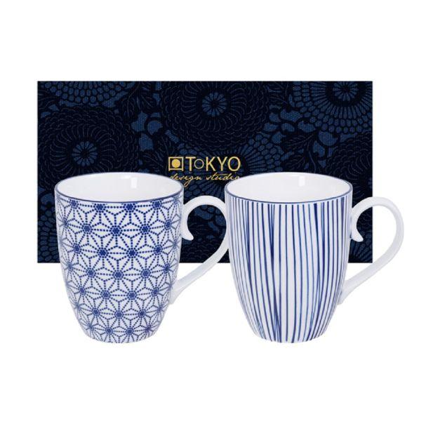 Nippon Blue Mug Set 2pcs 8.5x10.2cm 380ml Star & Lines