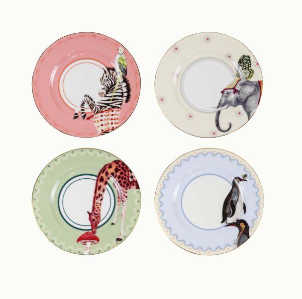 Yvonne Ellen Set/4 Animal Plates 16cm