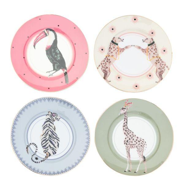 Yvonne Ellen Set/4 Cake plates Safari Animals