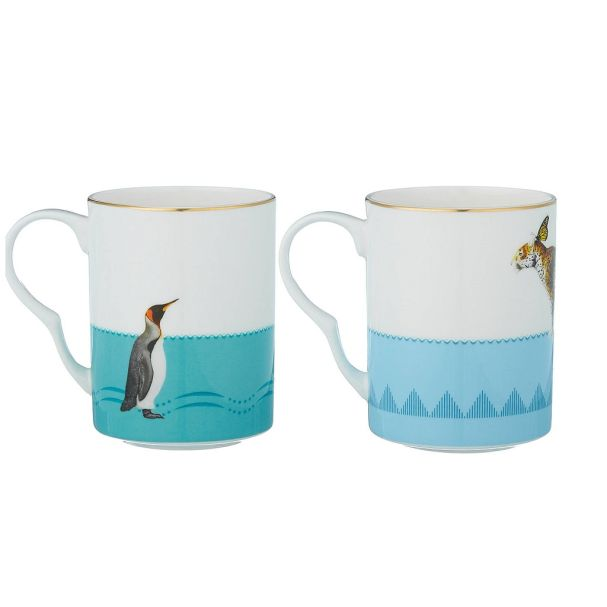 Yvonne Ellen Mug Set 2 Cheetah Penguin  68281020