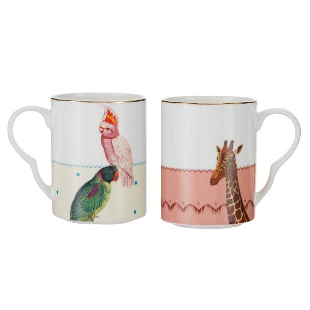 Yvonne Ellen Mug set of 2 Parrot & Giraffe