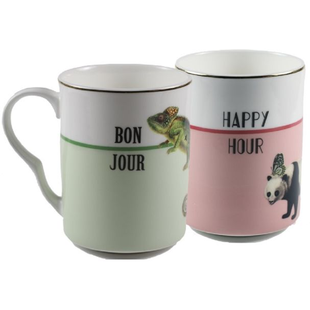 Yvonne Ellen Set/2 Mugs Bonjour/Happy Hour