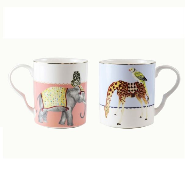Yvonne Ellen Set/2 Giraffe/Elephant Mugs