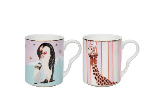 Yvonne Ellen Set of 2 Small Christmas Mugs