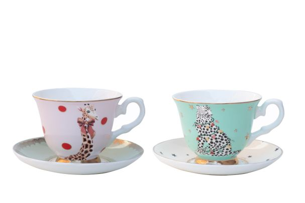 Yvonne Ellen Set of 2 Christmas Cup and Saucer
