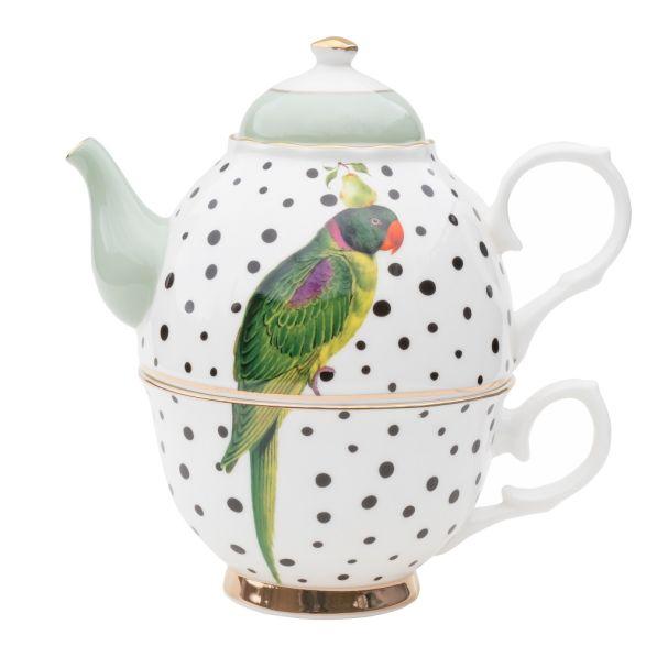 Yvonne Ellen Parrot Polka Dots Tea for One