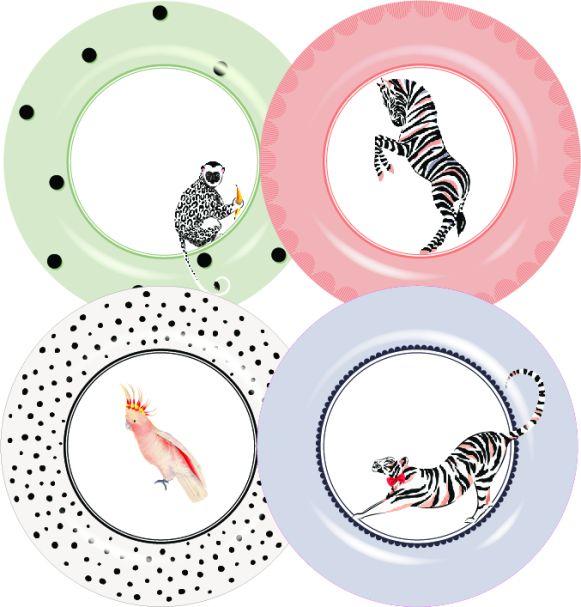 Yvonne Ellen Set/4 Melamine Dinner plates 26.5cm