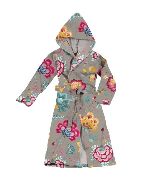 Floral Fantasy Hooded Medium Bathrobe Khaki by Pip Studio