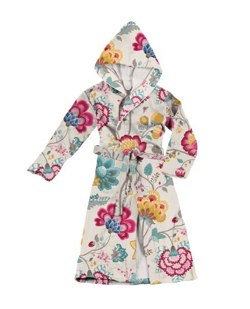 Floral Fantasy Hooded Bathrobe Star White by Pip Studio Small