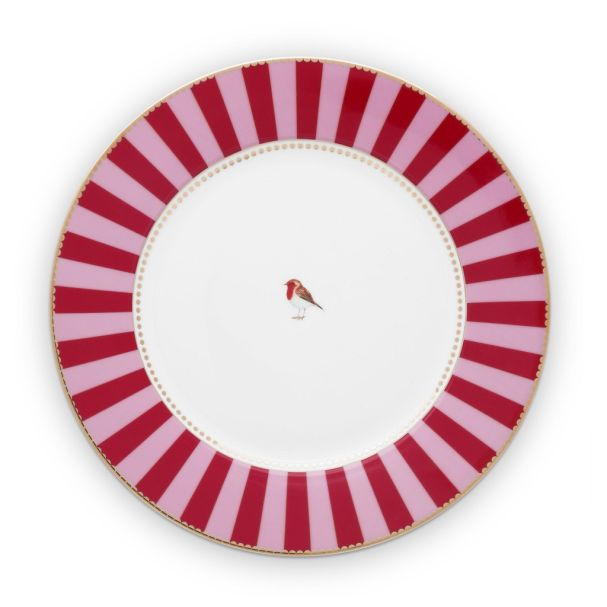 Love Birds Stripes Red-Pink 26.5cm Plate