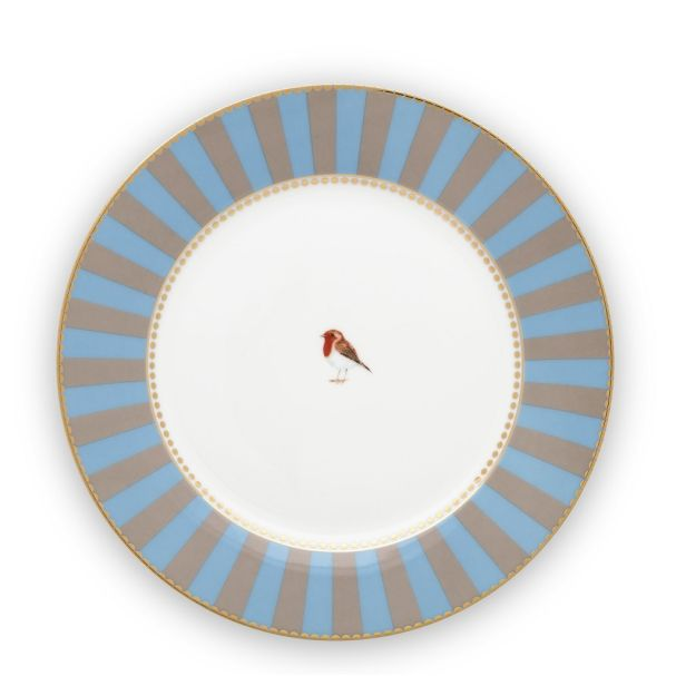 Love Birds Stripes Blue-Khaki 21cm Plate
