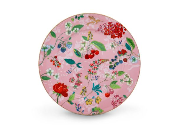 Pip Studio Plate Hummingbirds Pink 32 cm Floral 2.0