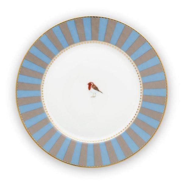 Love Birds Stripes Blue-Khaki 17cm Plate