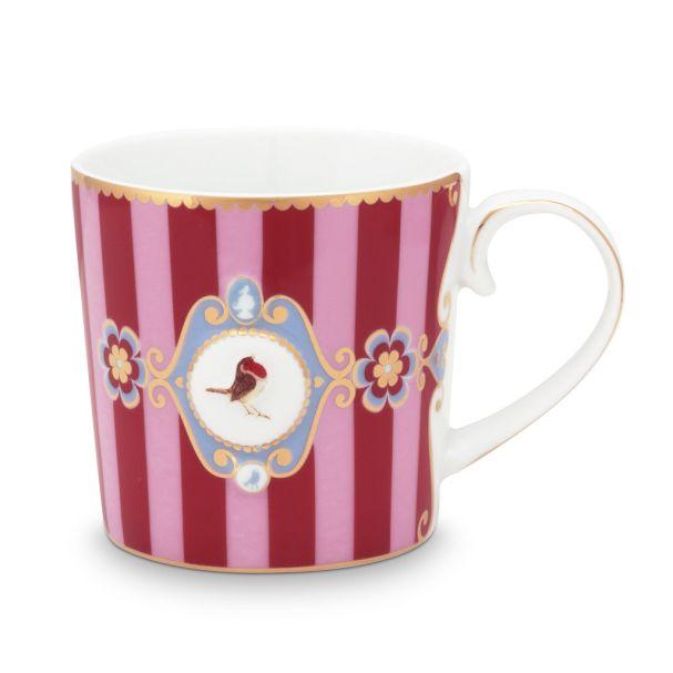 Small Love Birds Medallion Stripes Red-Pink Mug