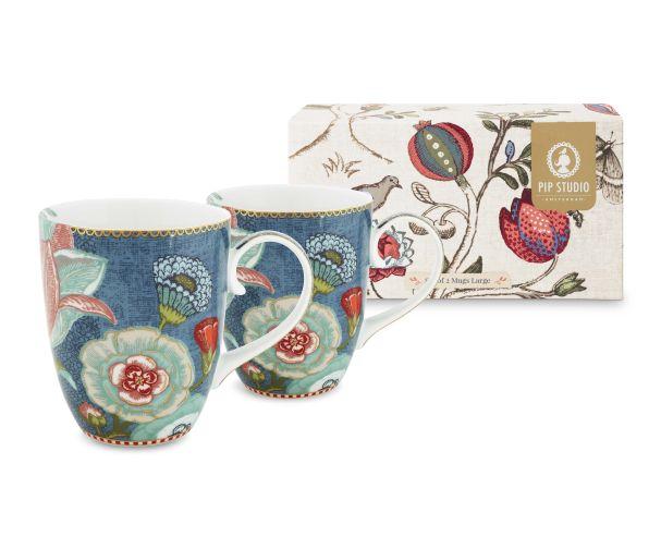 set of 2 blue mugs