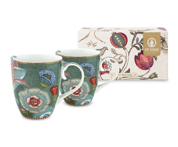 set of 2 green mugs