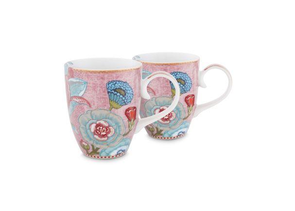 Set/2 Mugs Large Spring to Life Pink