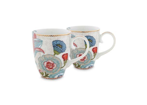 Set/2 Mugs Large Spring to Life Cream
