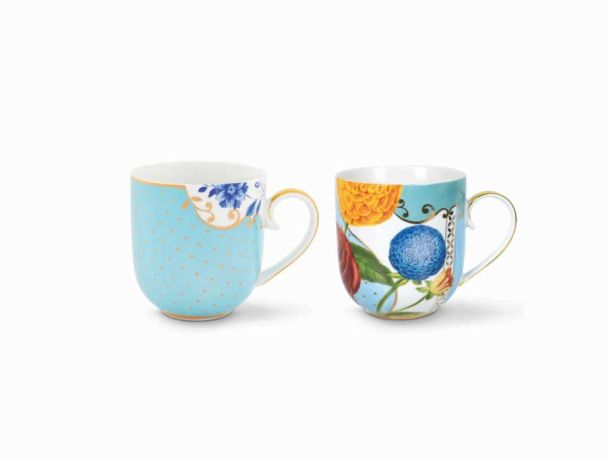 Set/2 Mugs Small Royal Blue / Flowers