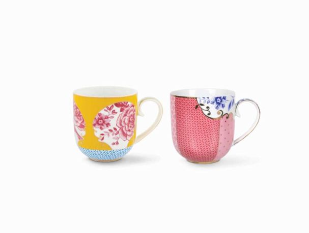 Set/2 Mugs Small Royal Yellow / Pink
