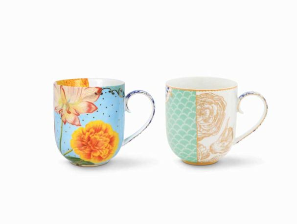 Set/2 Mugs Large Royal Blue / Flowers
