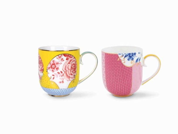 Set/2 Mugs Large Royal Yellow / Pink