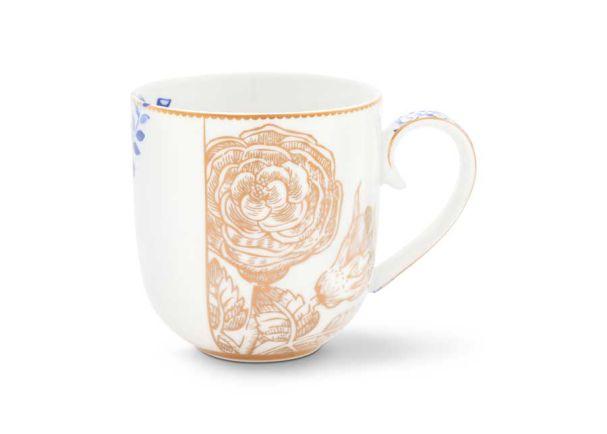 Mug Small Royal White Golden Flower