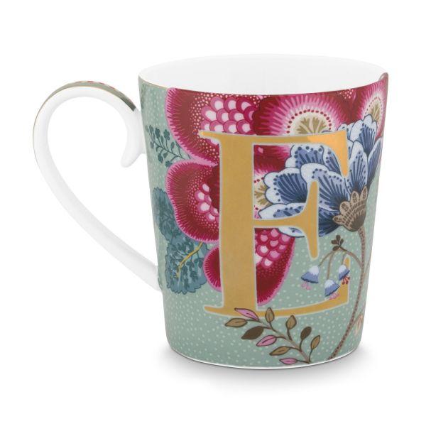 Alphabet Mug Floral Fantasy Light Blue E 350ml