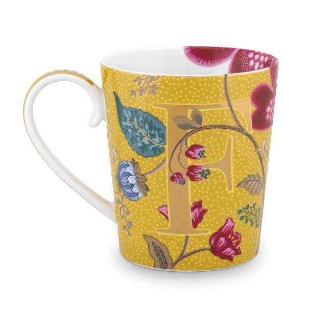 Alphabet Mug Blushing Birds Yellow F 350ml
