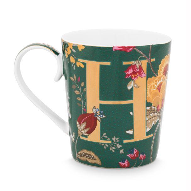 Alphabet Mug Floral Fantasy Green H 350ml