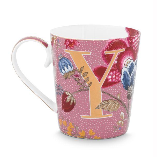Alphabet Mug Floral Fantasy Pink Y 350ml