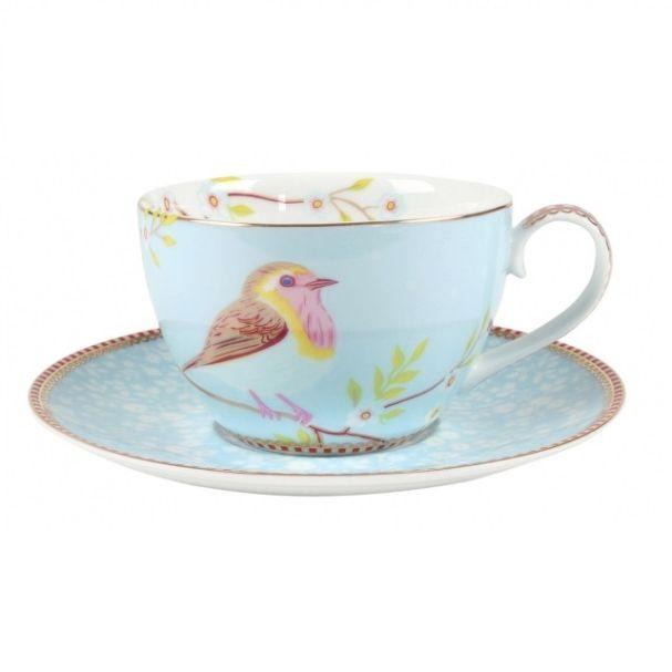 Pip Studio Early Bird Set/2 Khaki Cups & Saucers