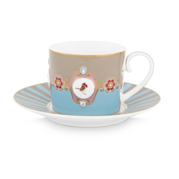 Love Birds Medallion Blue-Khaki Cup & Saucer