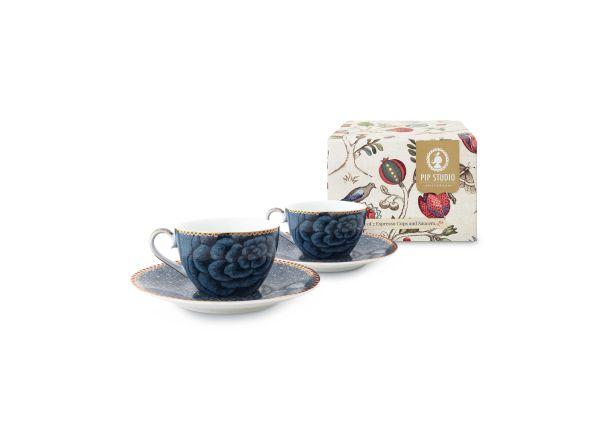 Set/2 Espresso Cup & Saucer Blue