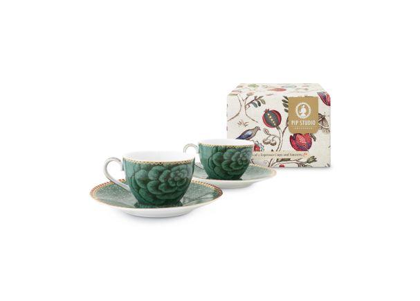Set/2 Espresso Cup & Saucer Green