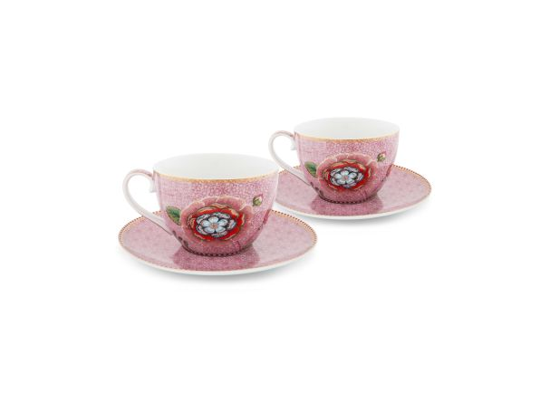 Set/2 Cups & Saucers Spring to Life Pink