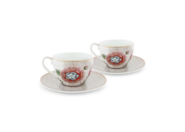 Set/2 Cups & Saucers Spring to Life Cream