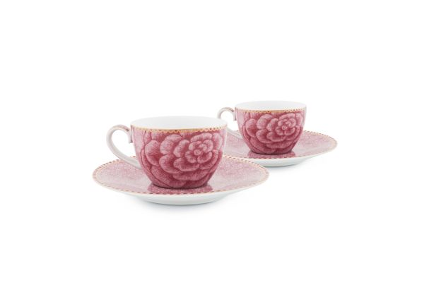 Set/2 Espresso Cups & Saucers Spring to Life Pink