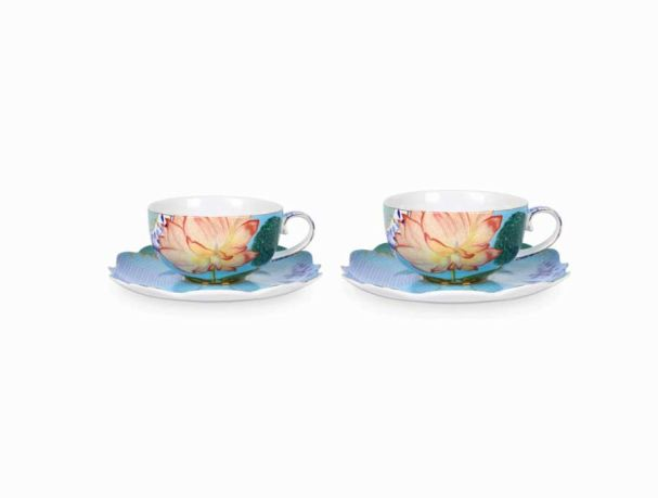 Set/2 Tea Cups & Saucers Royal Flowers