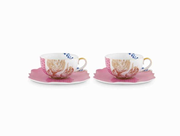 Set/2 Tea Cups & Saucers Royal Pink