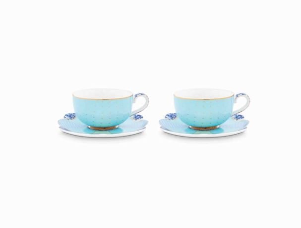 Set/2 Espresso Cups & Saucers Royal Blue