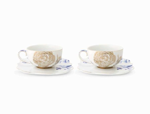 Set/2 Tea Cups & Saucers Royal White