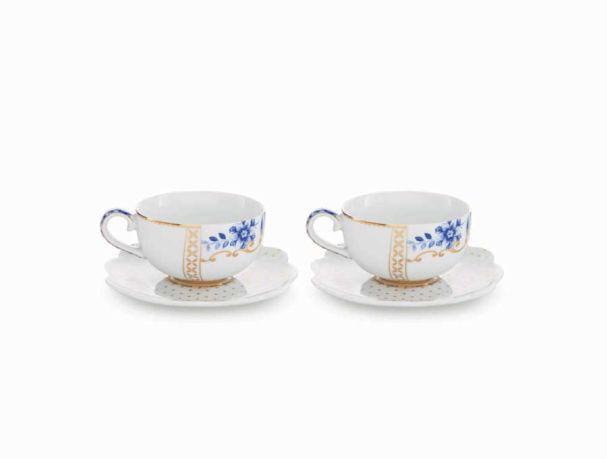 Set/2 Espresso Cups & Saucers Royal White