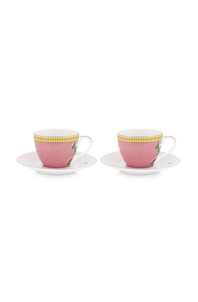 Set/2 Espresso Cups & Saucers La Majorelle Pink 120ml