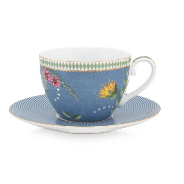 Set/2 La Majorelle Blue 280ml Cups & Saucer