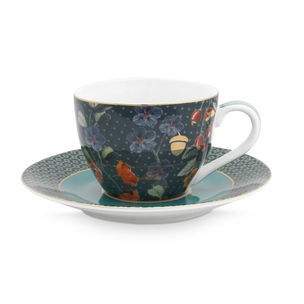 Espresso Cup & Saucer Winter Wonderland Overall Dark Blue