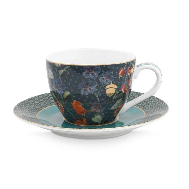 Set/2 Espresso Cups & Saucers Winter Wonderland Blue 120ml